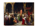 King Louis VII Takes the Standard at Saint-Denis Giclee Print by Jean-Baptiste Mauzaisse