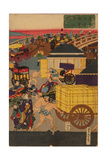 Flourishing Nihonbashi Section of Tokyo, (Tokyo Nihonbashi Han Ei No Z) Triptych Giclee Print by Utagawa Yoshitora