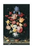 Chinese Vase with Flowers, Shells and Insects Giclee Print by Balthasar van der Ast