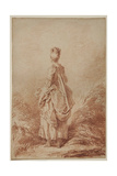 Young Woman Looking Back Giclee Print by Jean-Honoré Fragonard