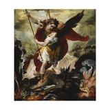 Saint Michael Vanquishing Satan Giclée-tryk af Francesco Maffei