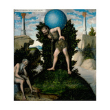 Atlas and Hercules (From the Labours of Hercule) Giclee Print by Lucas Cranach the Elder