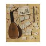 Trompe L'Oeil Still Life with a Lute, Rebec and Music Sheets Giclee Print