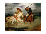Knights Fighting in the Countryside Giclee Print by Eugène Delacroix