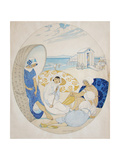Chatting on the Danish Beach Impression giclée par Gerda Wegener