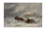 Bear Hunters in the Blizzard Giclee Print