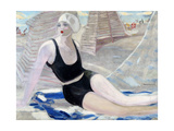 Bather in Black Swimming Suit Giclee Print