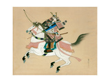 Samurai Warrior Riding a Horse, a Japanese Painting on Silk, in a Traditional Japanese Style Lámina giclée