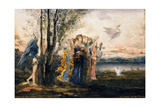 Cupid and the Muses Giclee Print by Gustave Moreau
