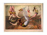 Female Acrobats on Trapezes at Circus, C. 1890 Giclée-vedos