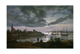 Larvik by Moonlight Giclee Print by Johan Christian Clausen Dahl