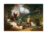 Childhood Friends Gicléetryck av Carl Spitzweg
