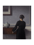 Interior with Young Woman from Behind Giclee Print by Vilhelm Hammershoi