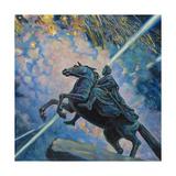 Fireworks. the Bronze Horseman Giclee Print by Boris Michaylovich Kustodiev