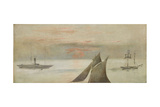 Boats at Sea, Sunset Giclee Print by Édouard Manet