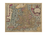 Anglia: England and Wales, 1579 Giclee Print by Christopher Saxton