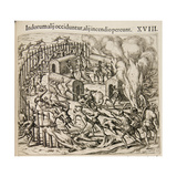 Some Indians are Killed, Some Perish in a Fire Lámina giclée por Theodor de Bry