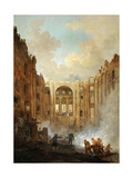 Fire at the Opera House of the Palais-Royal in 1781 Giclee Print by Hubert Robert
