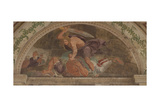 David Slaying Goliath (Loggia Di David) Giclée-tryk af Giulio Romano