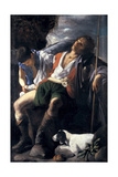 Saint Roch Comforted by an Angel Giclee Print by Carlo Saraceni