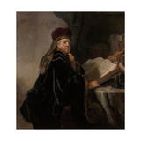 A Scholar Seated at a Desk (Scholar at His Stud) Giclee Print by  Rembrandt van Rijn