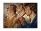 Three Buskers Giclee Print by Jacob Jordaens