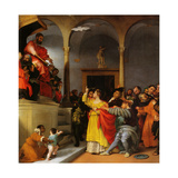 Altar of St. Lucia. Saint Lucia before the Judge Giclee Print by Lorenzo Lotto