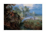 Village with Peasants and Animals Giclee Print by Jan Brueghel the Elder