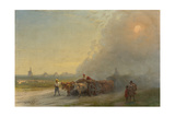 Ox-Carts in the Ukrainian Steppe Giclee Print by Ivan Konstantinovich Aivazovsky