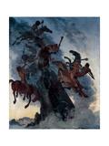 Fog Riders Giclee Print by Albert Welti