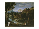 Landscape with River and Bathers Giclee Print by Annibale Carracci