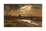 Dresden by Moonlight Giclee Print by Johan Christian Clausen Dahl