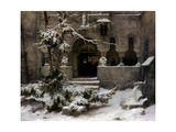 Monastery Garden in Snow Giclee Print by Carl Friedrich Lessing