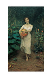 Young Girl Carrying a Pumpkin Giclee Print by Fausto Zonaro