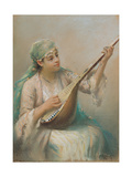 Woman Playing a Lute Giclee Print by Fausto Zonaro