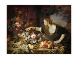 Woman Taking Fruit Giclee Print by Abraham Brueghel