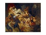 Death of Sardanapalus (Studi) Reproduction procédé giclée par Eugène Delacroix