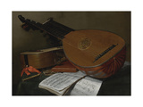 Still Life with a Lute and a Guitar Giclee Print by Nicolas Henri Jeaurat de Bertry