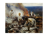 Under the Yoke (Burning the Brushwoo) Giclee Print by Eero Järnefelt