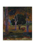 Hiva Oa (Landscape with a Pig and a Hors) Giclee Print by Paul Gauguin