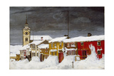 Street in Røros in Winter Giclee Print by Harald Sohlberg