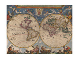 Double Hemisphere Map of the World Giclee Print by Joan Blaeu