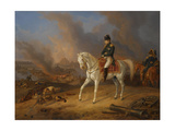 Napoleon Bonaparte before the Burning City of Smolensk Giclee Print by Albrecht Adam