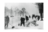 Clearing Snow on the Champs Elysees, German-Occupied Paris, Winter, 1941 Giclee Print