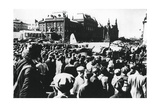 Crowds around a Downed German Bomber on Display in Sverdlov Square, Moscow, 1941 Giclee Print