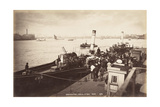 A Paddle Steamer Disembarking Passengers at Greenwich Pier, London, C1890 Photographic Print