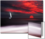 White Sailboat and Red Sunset Print by Philippe Sainte-Laudy