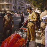 A Ferrari Team Member Filling a Car with Fuel, Monaco Grand Prix, Monte Carlo, 1963 Photographic Print
