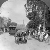 Dalhousie Street, Busiest in the City, Rangoon, Burma, 1908 Reproduction photographique