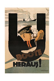 The U-Boats are Out!, 1917 Giclee Print by Hans Rudi Erdt